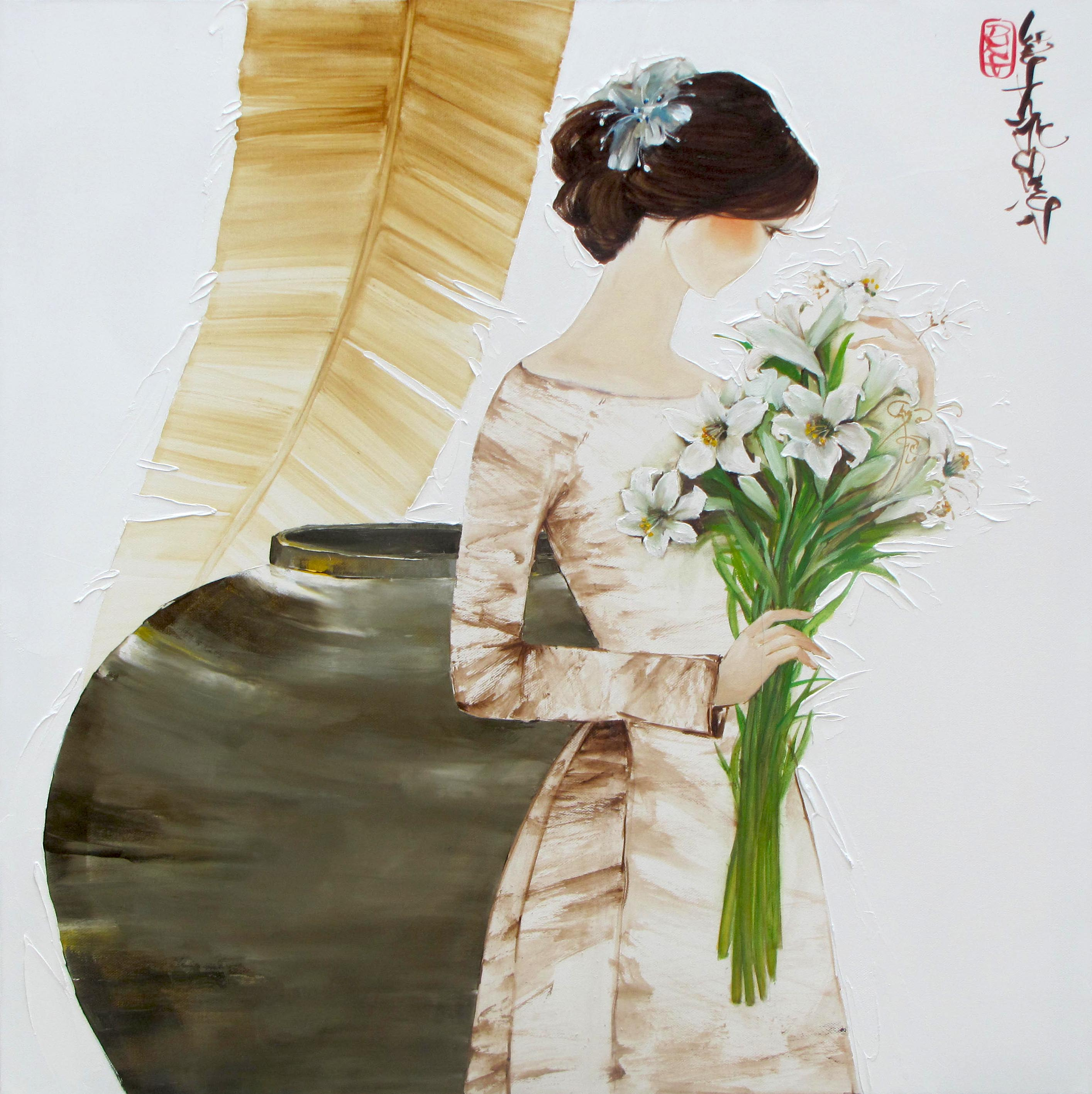 Luong Dung-Lady with Lily flowers-80x80cm