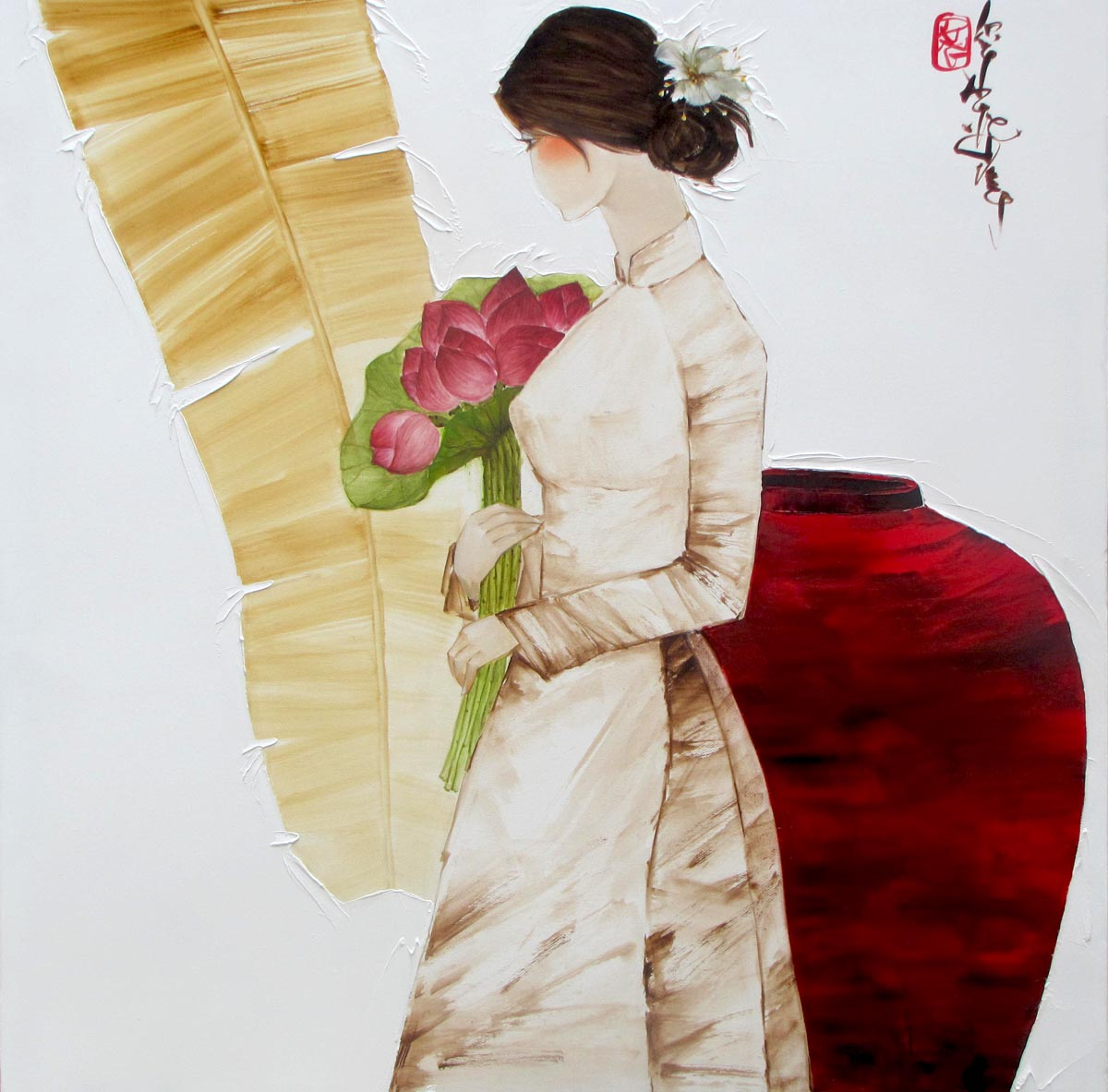 Luong Dung-Lady with Lotus-80x80cm