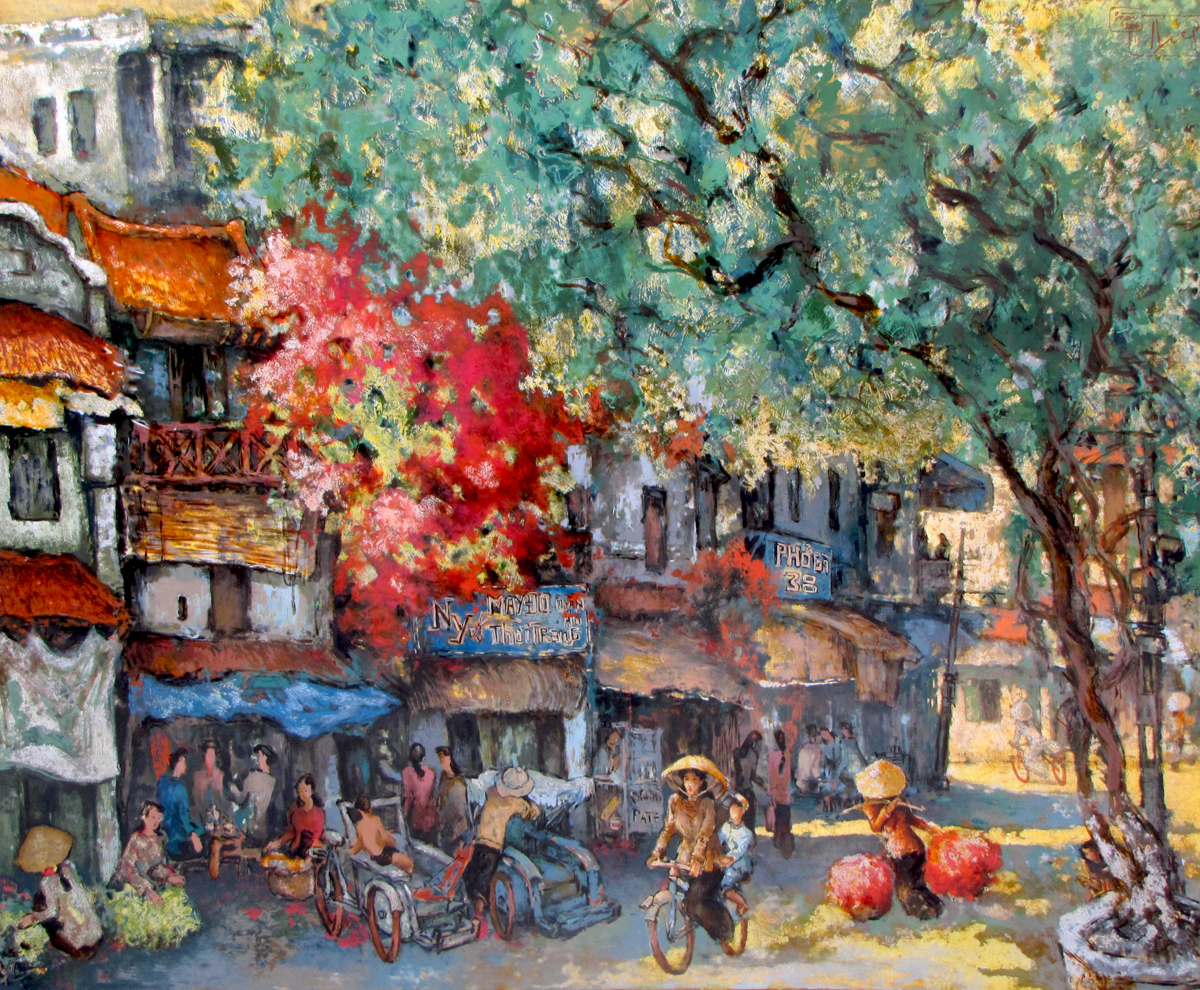 Do Ngoc Diep-Busy morning in Spring 01-100x120cm