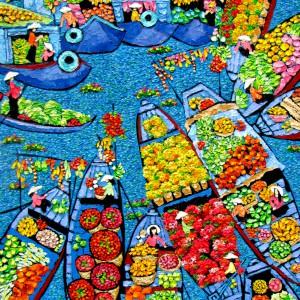 Tran Thu Huong-Floating market 01-70x90