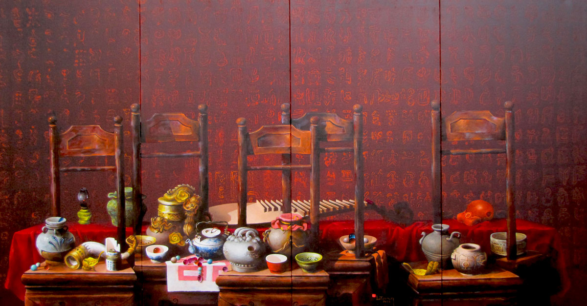 le-tuong-still-life-with-antique-pots-and-cups-130x237cm
