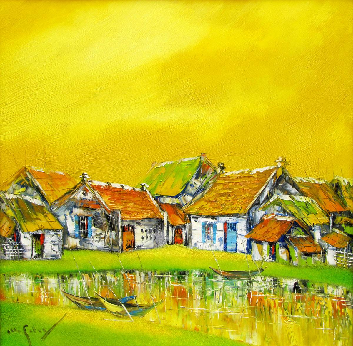 Asian townscape painting Vietnam Artist