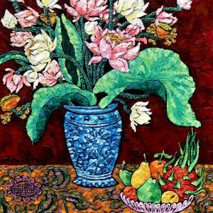 Vase of lotus 01-70x90