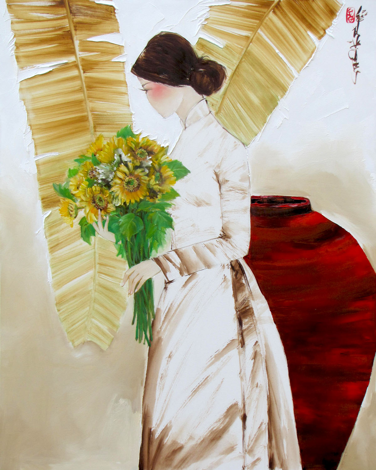 Lady with Sunflowers-80x100