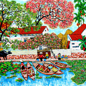 Small village by the river -100x120