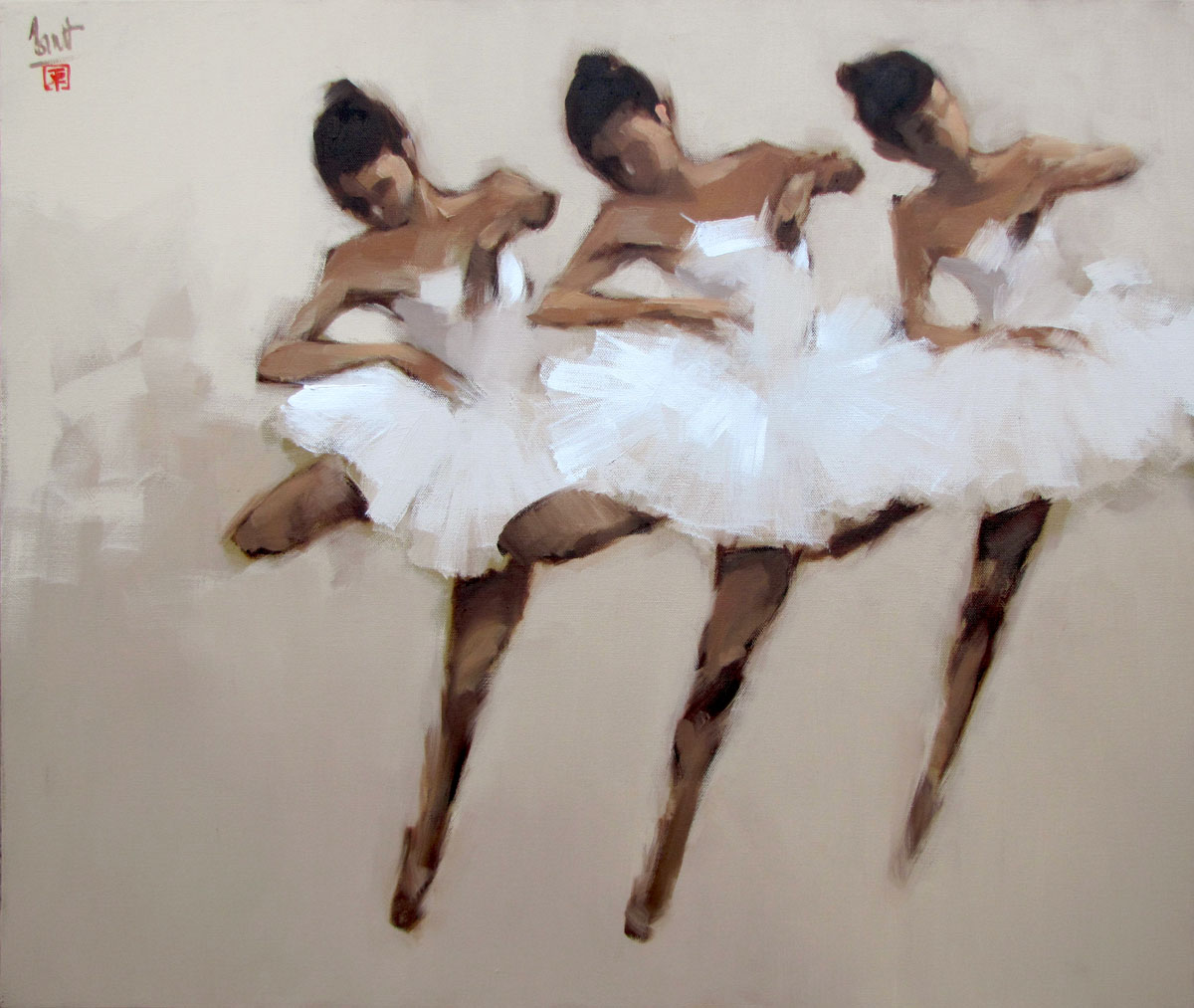 Ballerinas in white 01- 80x95