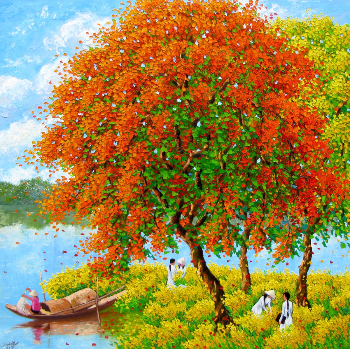 Blossom season by the river