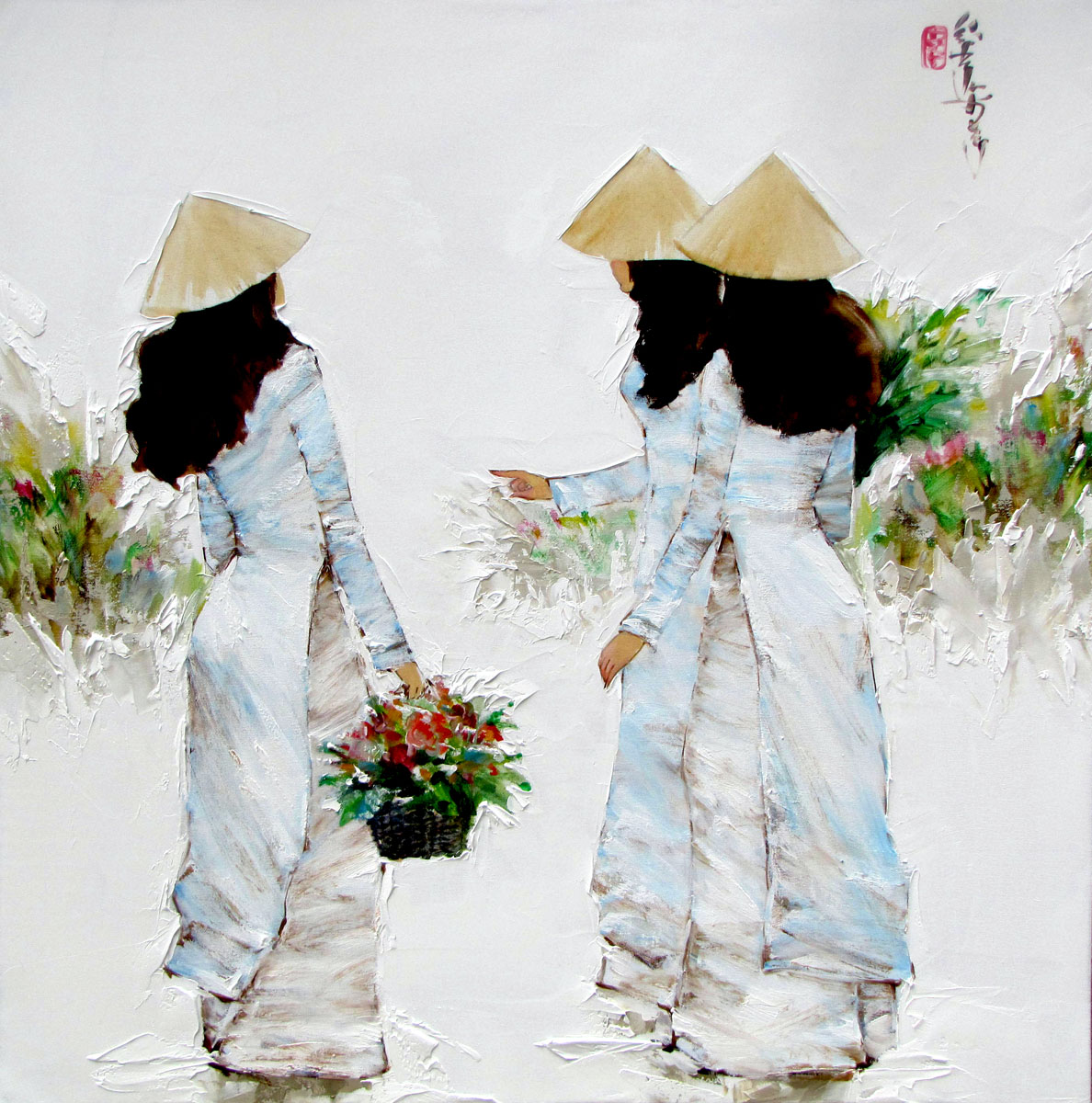 Ladies in blue-80x80cm