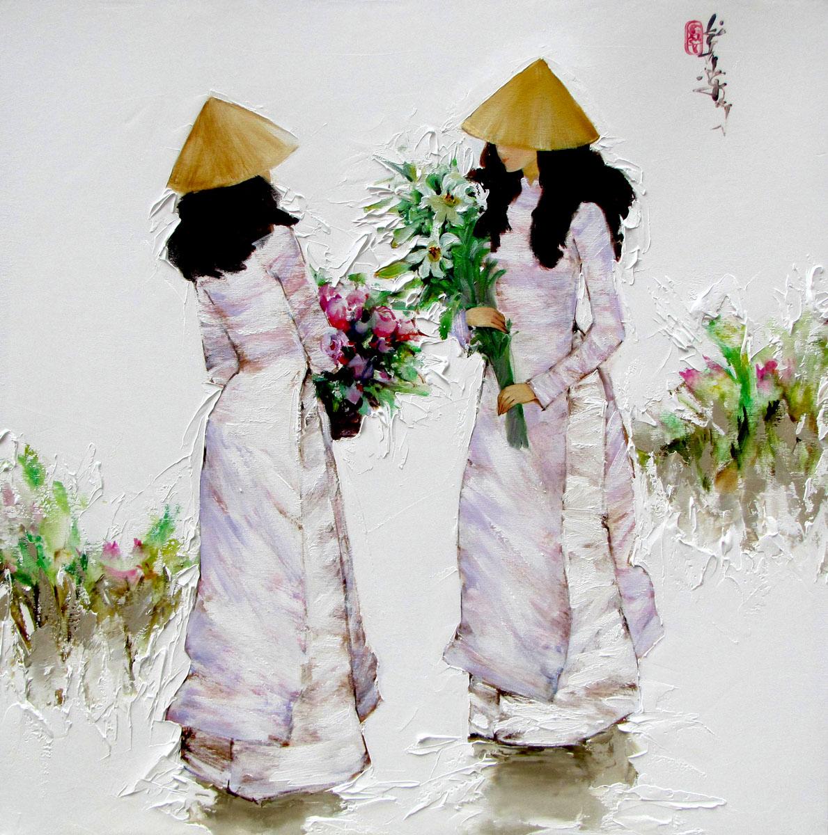 Ladies in purple-80x80cm