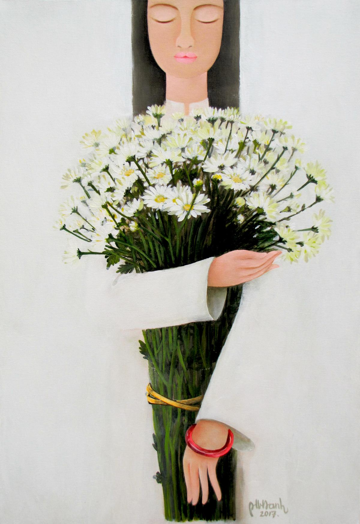 Lady with Daisy flowers-45x65cm