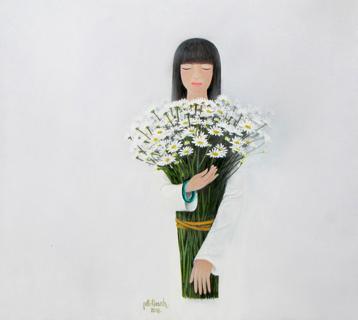 Lady with daisy flowers-80x90-BaoHanh