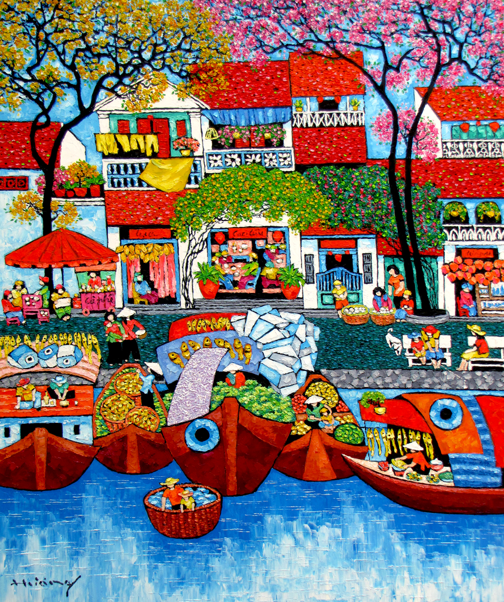 Tran Thu Huong-By the Hoai river-100x120