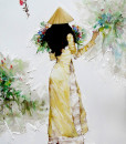 Young lady in yellow-65x80