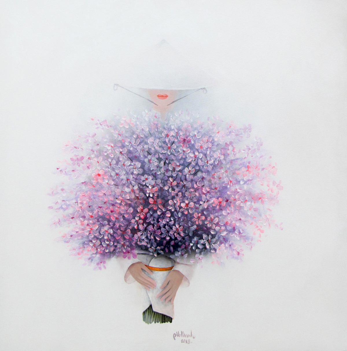 Lady with flowers-90x90-Bao Hanh