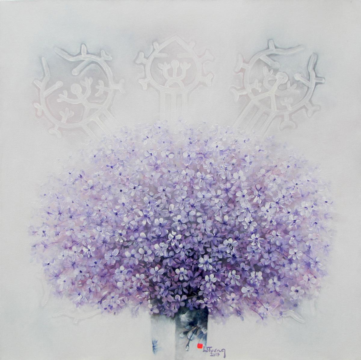 Purple flowers-90x90cm