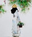 Lady in blue-80x80cm