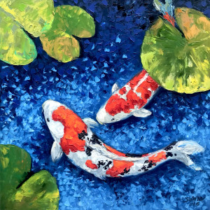 Lucky Koi Fishes 03-60x60