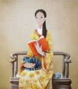 Phan Linh Bao Hanh - Lady with cat reading book- 100x100