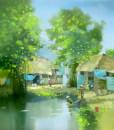 Noon in village-70x80
