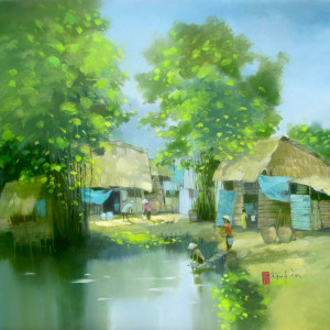Noon in village-70x80