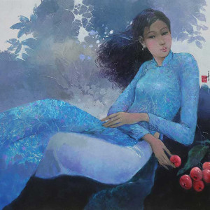 Young lady in the garden - 60x80