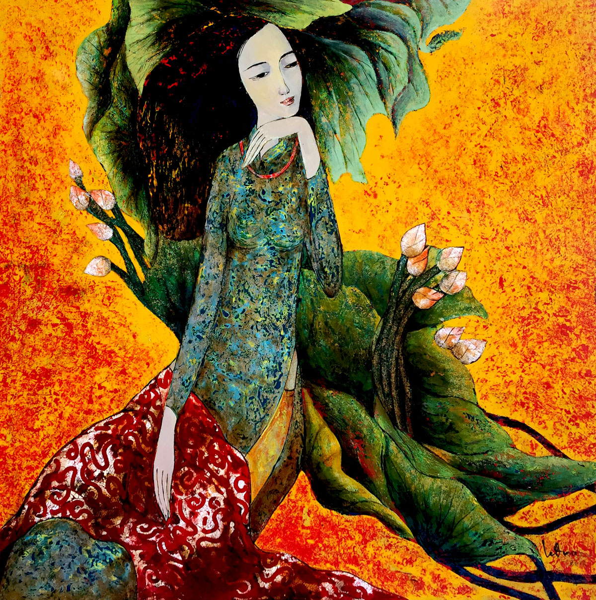 Lady with Lotus 01-80x80cm