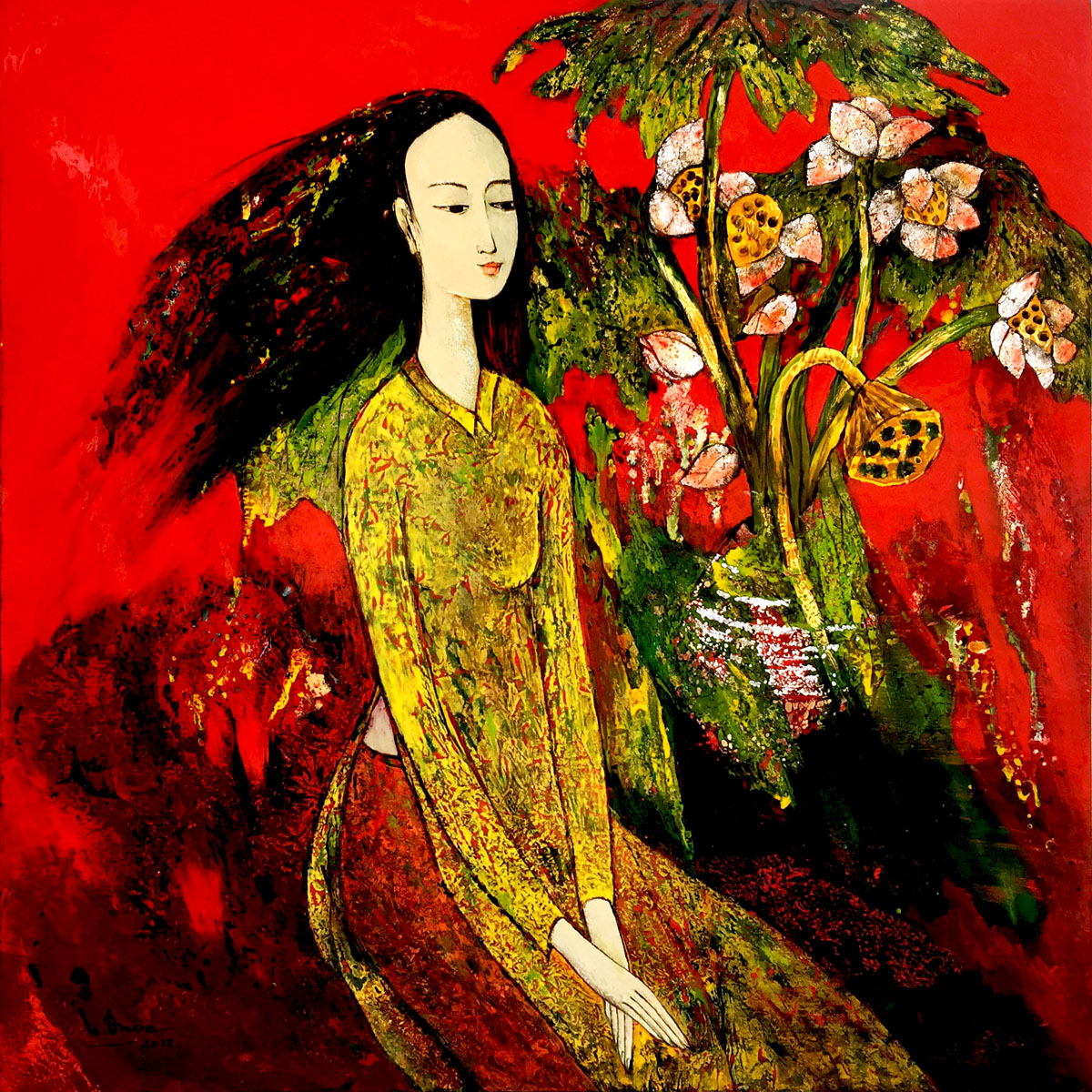 Lady with Lotus 02-80x80cm