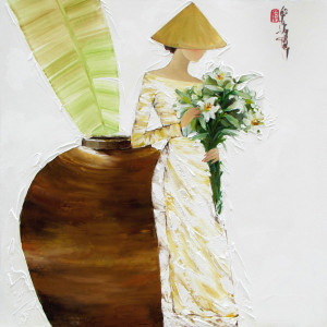 Lady with Lily flowers 01-80x80cm