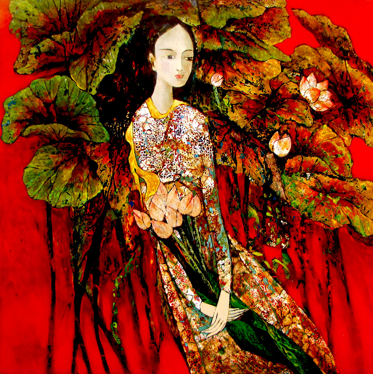 Lady with Lotus 03-80x80