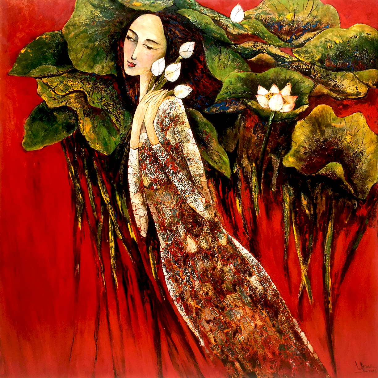 lady with lotus 05- 80x80