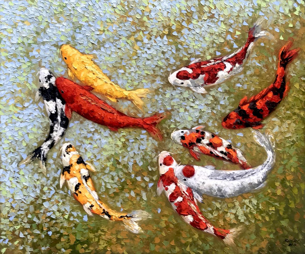 Lucky Koi Fishes 02-100x120