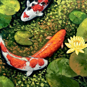 Lucky Koi Fishes 04-60x80