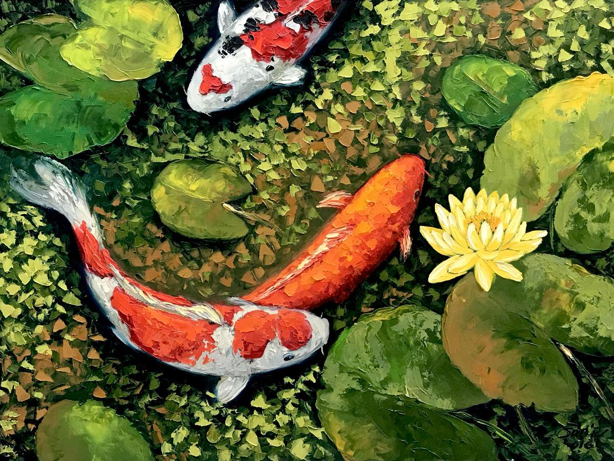 Lucky Koi Fishes 04-60x80