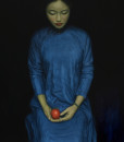 Girl with red fruit - 90x120
