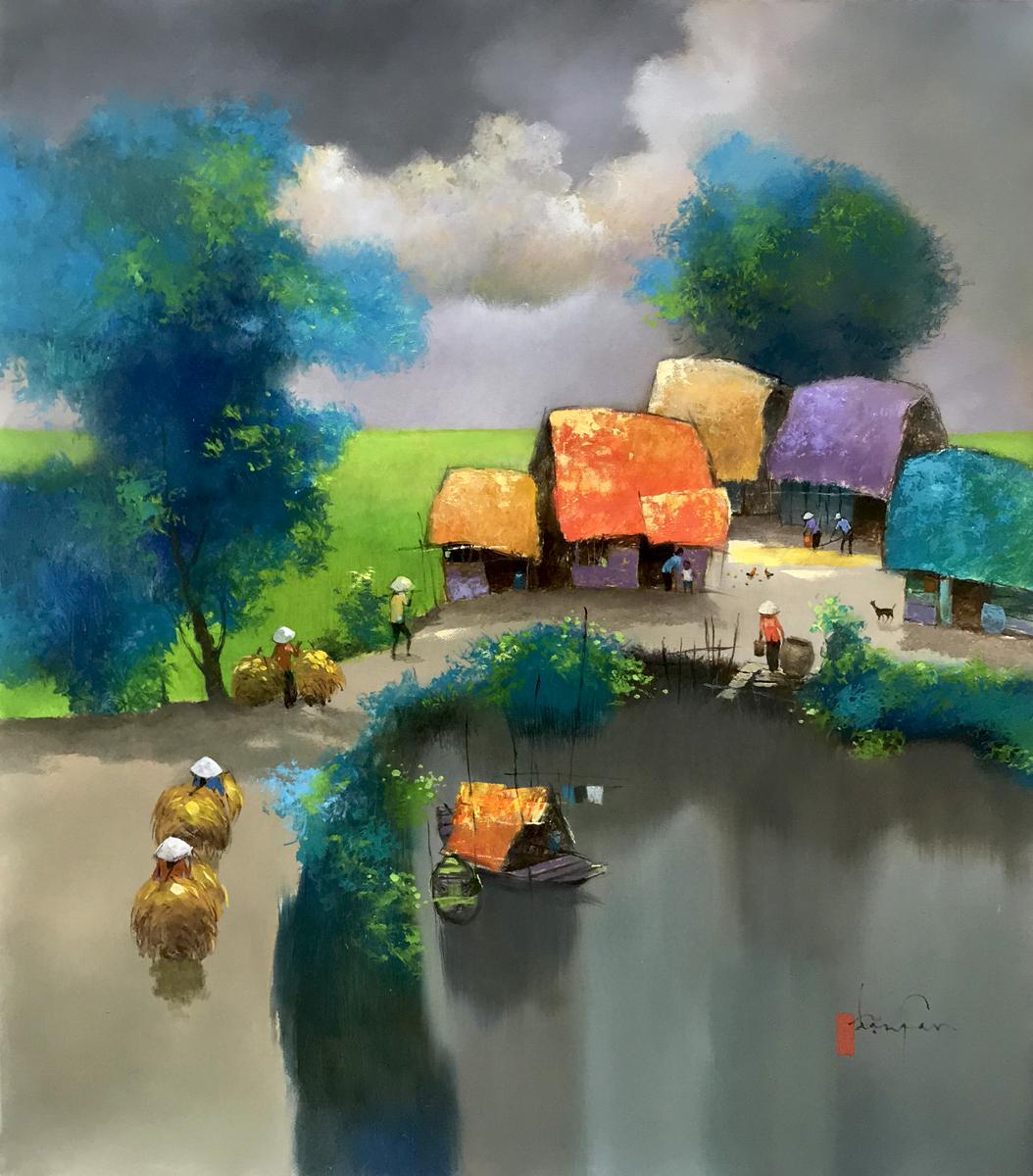 Noon in village 02-70x80