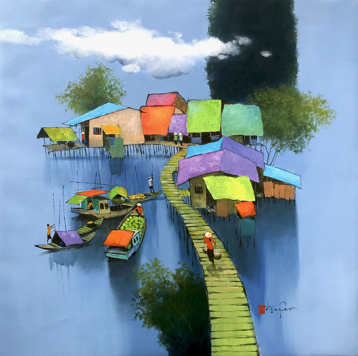 Small village by the river.100x100