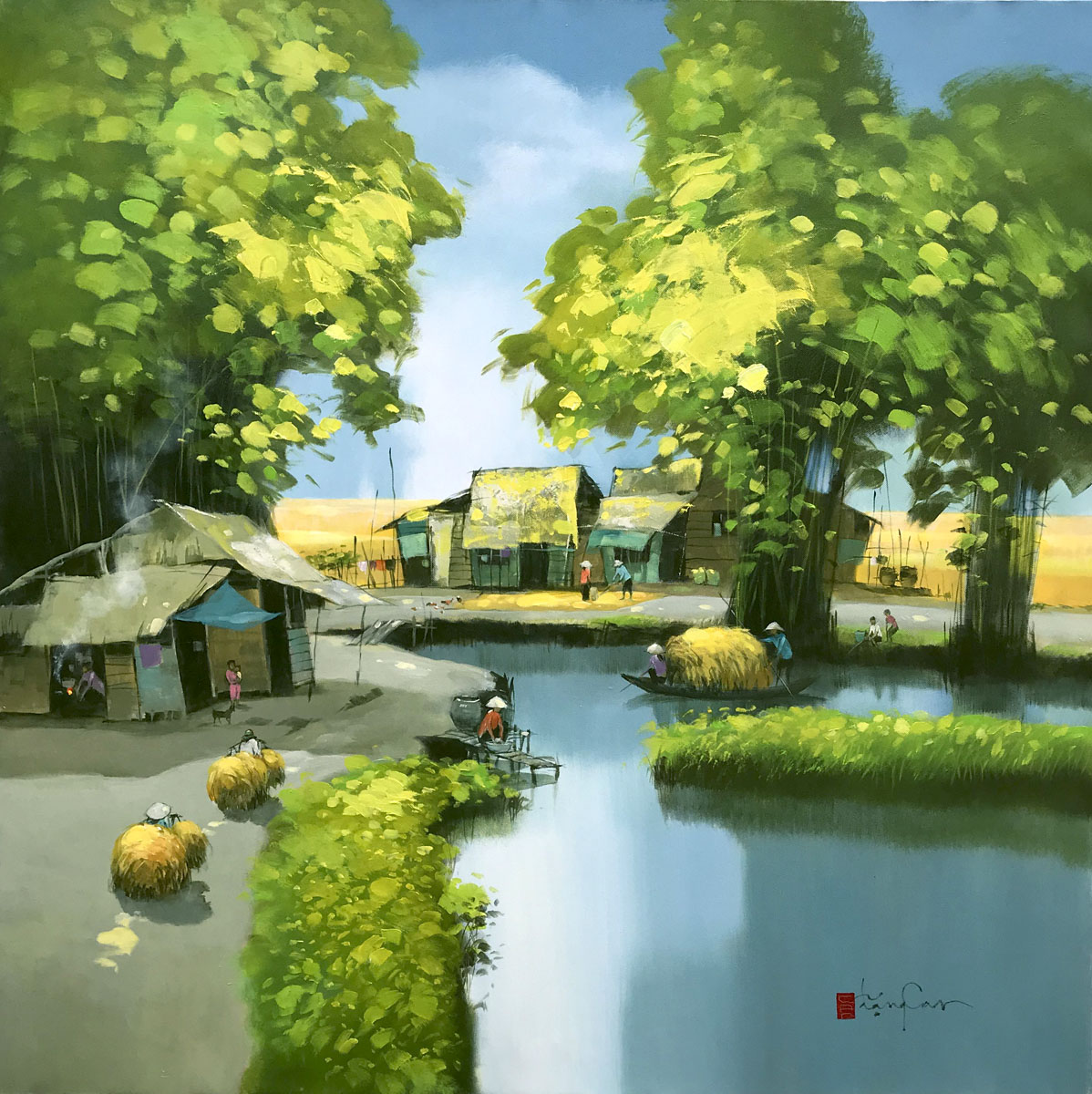 Noon in village 01-100x100