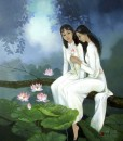 Young ladies with lotus-80x100cm