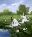 Young ladies with lotus 01-100x100