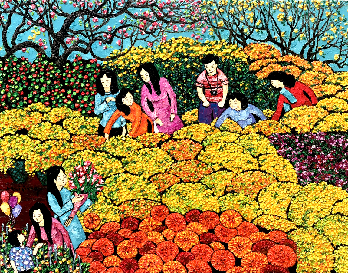 Flower market in Spring 70x90